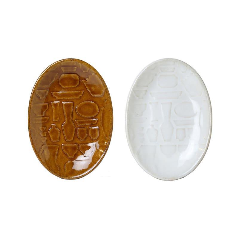 つかもと/レリーフシリーズ オーバルプレート Sサイズ同色2枚組|益子焼 (左)飴釉 (右)糠白釉(※同色2枚組でお届けします。)
