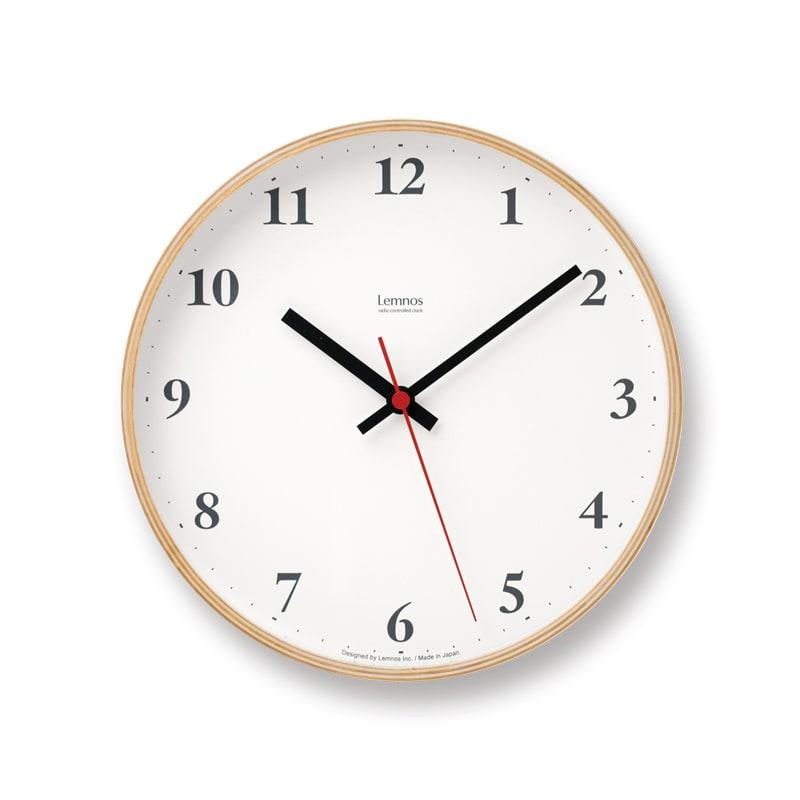 Lemnos(レムノス)Plywood clock ウォールクロック壁掛け電波時計