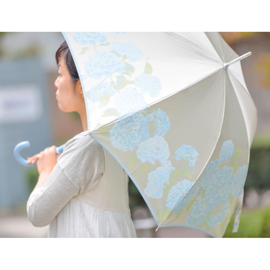 創業1866年槙田商店/ジャカード織 晴雨兼用長傘(UVカット加工) 絵おり 紫陽花 じめじめした梅雨の季節に爽やかで彩り鮮やかな紫陽花の花々をイメージして織りえがきました