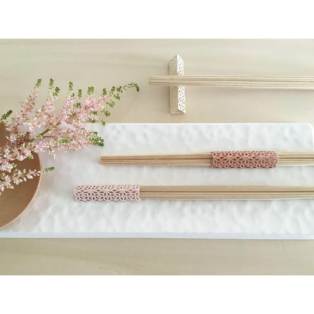 cohana×WASARA/長角皿 すかし小桜お祝い箸付6客セット
