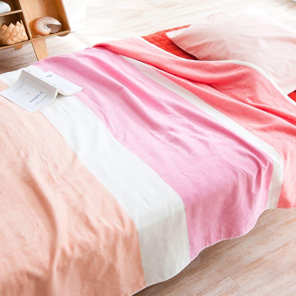 Fab the Home(ファブザホーム)/ホリゾン 2重ガーゼタオルケットS (ア)ピンク