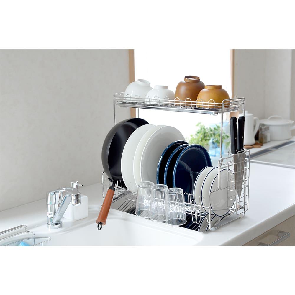 キッチン 家電 キッチン収納 水切り 水切りかご ラック 水切りラック デラックス 2段 NV4311