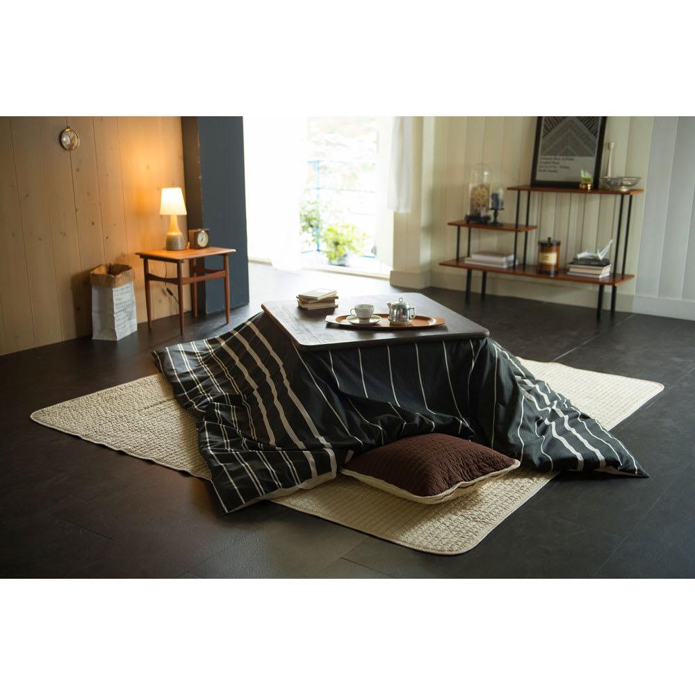 Fab the Home(ファブザホーム)/ゼブラノ こたつ布団カバー 正方形 チャコール※こちらは正方形のサイズの写真になります