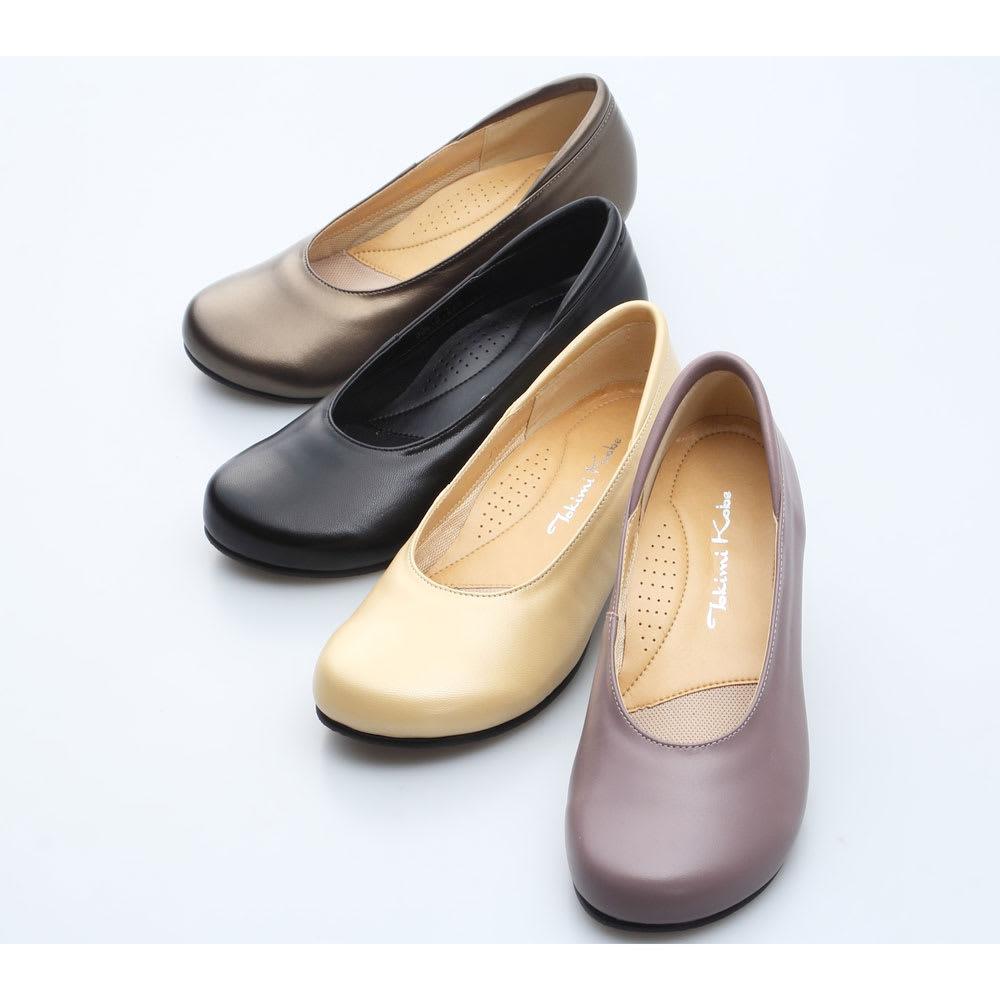 神戸シューズ 時見の靴/オブリークパンプス3.5cm ウエッジヒール 左上から(イ)ブロンズ、(ア)ブラック、(ウ)パールベージュ、(エ)グレイッシュローズ