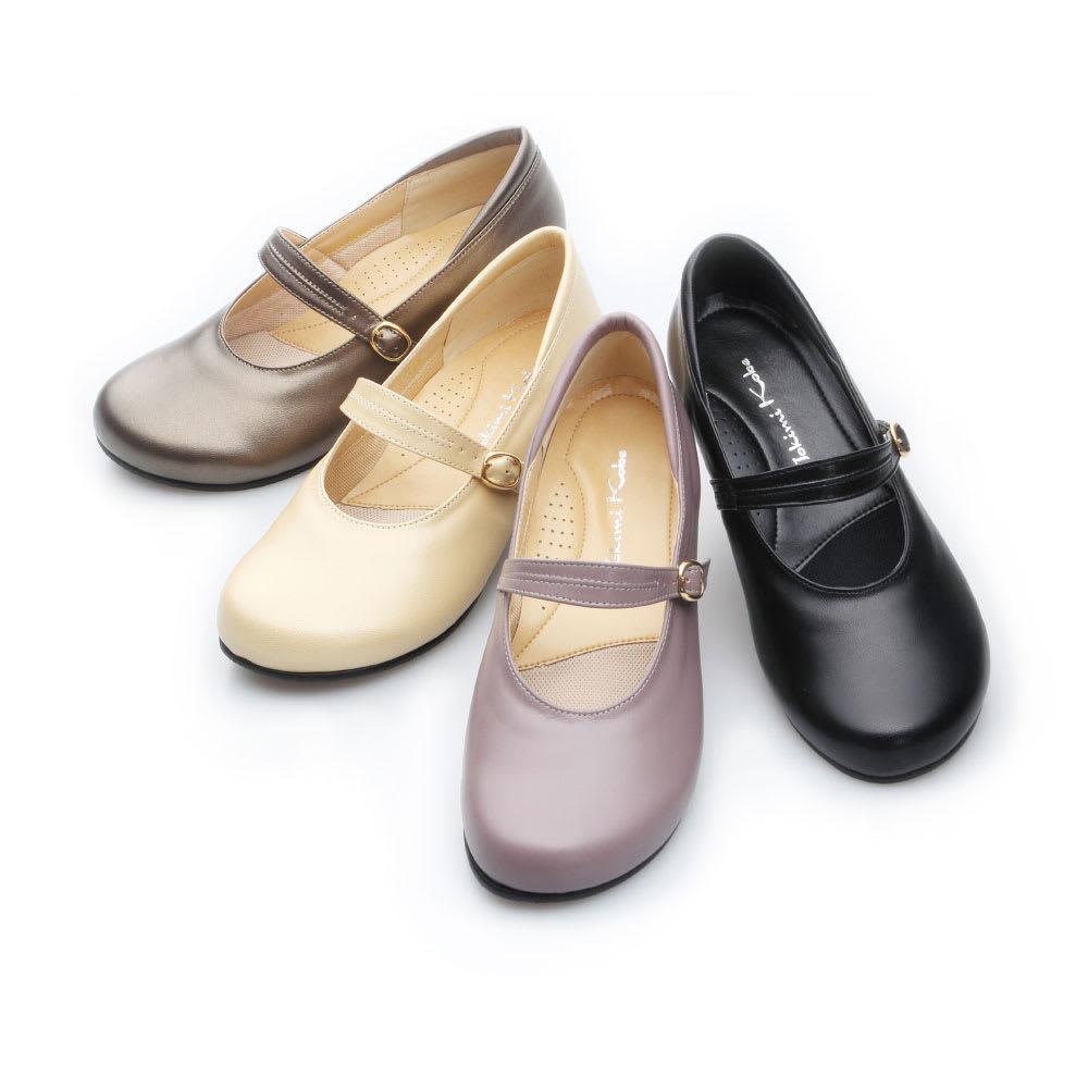 神戸シューズ 時見の靴/オブリーク一本ベルトパンプス3.5cm エアーヒール 左から(イ)ブロンズ、(ウ)パールベージュ、(エ)グレイッシュローズ、(ア)ブラック