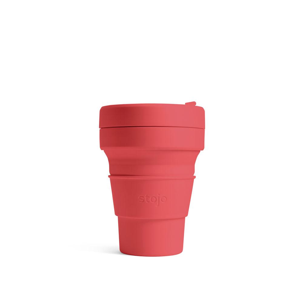 stojo POCKET CUP 355ml 折り畳みマイカップ/マイタンブラー CORAL(ピンク)/SAGE(グレー)/STEEL(ブルー)/CARBON(ダークグレー 日用品・便利グッズ
