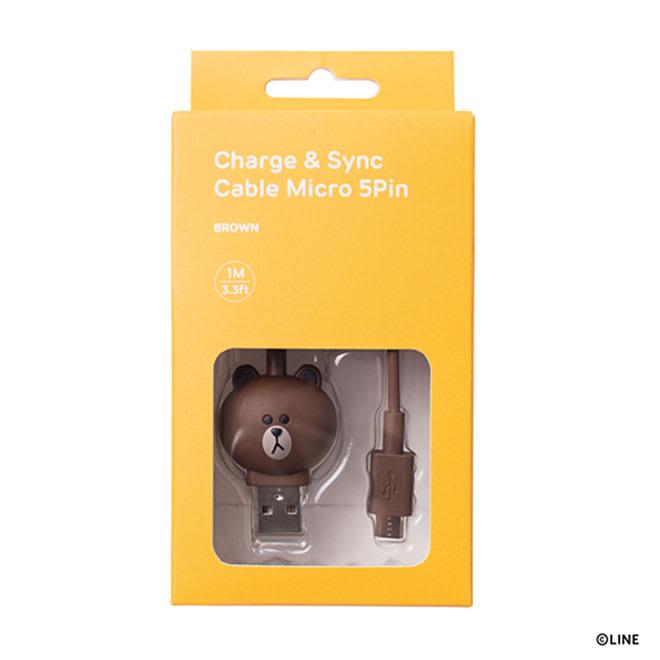 充電&データ Micro USBケーブル|LINE FRIENDS(ラインフレンズ) (ウ)ブラウン