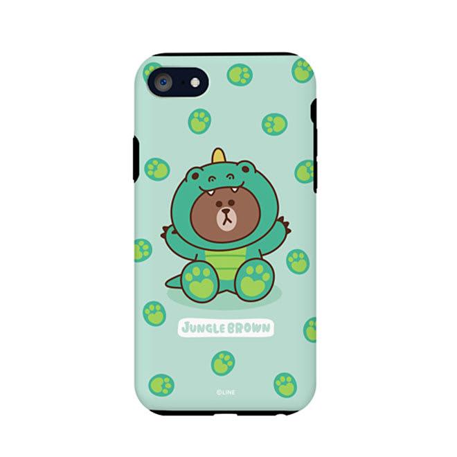 iPhone 8/7用 スマホケース ジャングルブラウン|LINE FRIENDS(ラインフレンズ) (ア)ザウルス