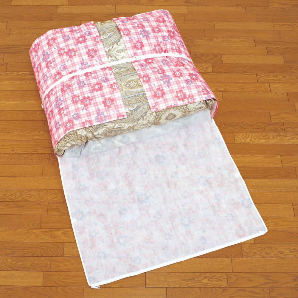 羽毛布団収納袋 シングルFC柄 収納袋の左右を合わせて紐でくくります