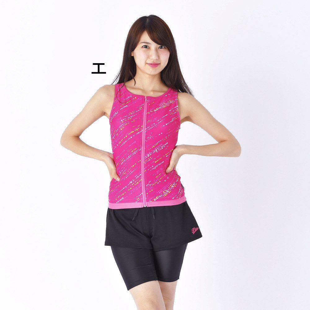 FILA(フィラ)/バイヤスドットフルジップタンキニボックスショーツ付3点セット 315208 (エ)ピンク