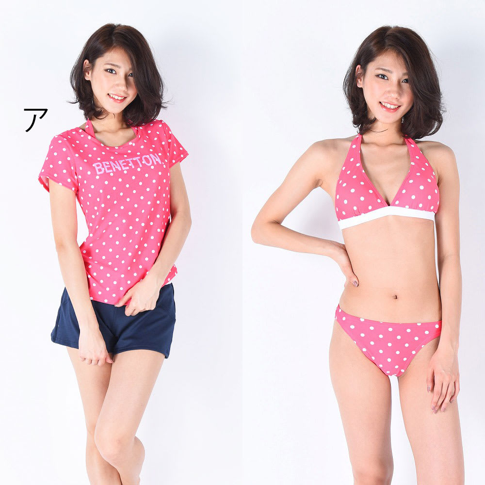 BENETTON(ベネトン)/ドットカバーアップTシャツ付ビキニ水着4点セット (ア)ピンク