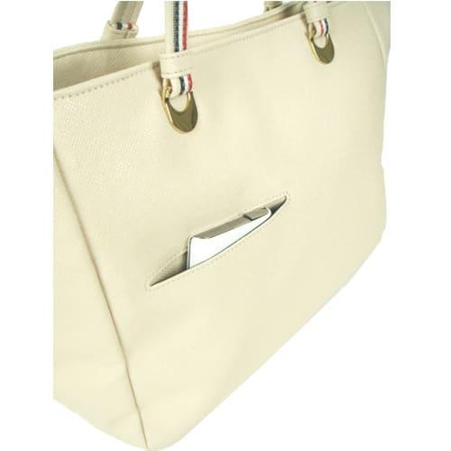 ワチャマコリ 変形カラ―トートバッグ 背面にはスマートフォンやパスケースが入るポケット
