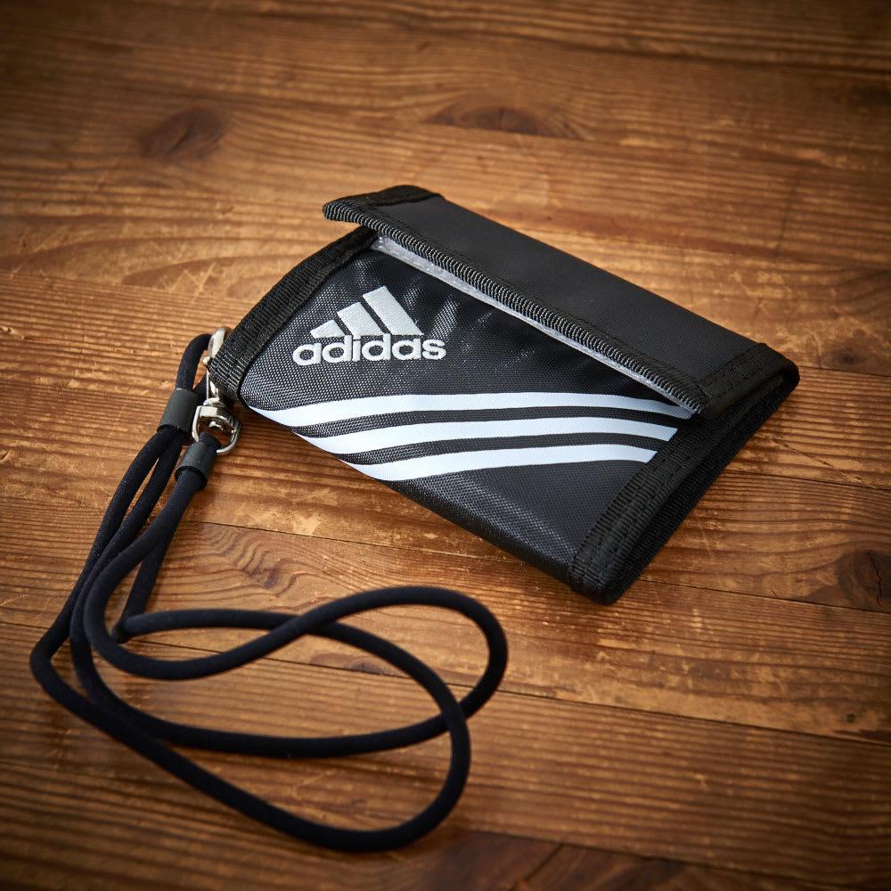 adidas(アディダス)/ウォレットコード付 かぶせ財布 (ア)ブラック
