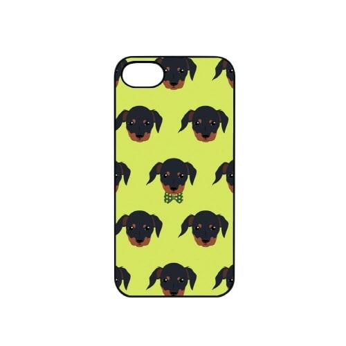iPhone7 ブラックケース (イ)Fashionable Dog ダックスフンド