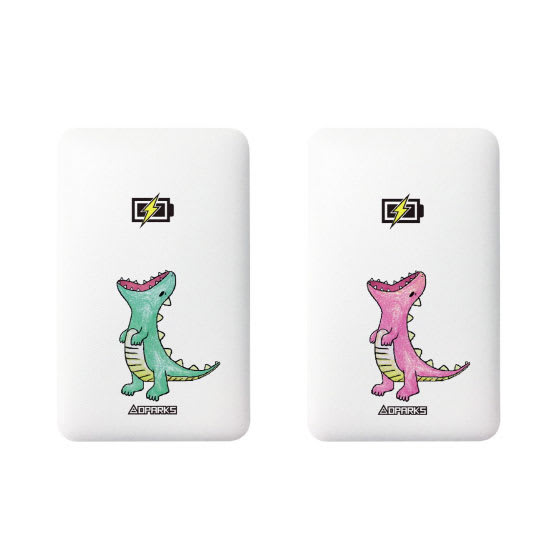 ケーブル内蔵型モバイルバッテリー 5000mAh (ア)はらぺこザウルス グリーン、(イ)はらぺこザウルス ピンク