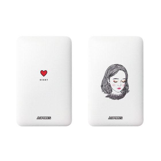 ケーブル内蔵型モバイルバッテリー 5000mAh (オ)ハート、(カ)ガールA