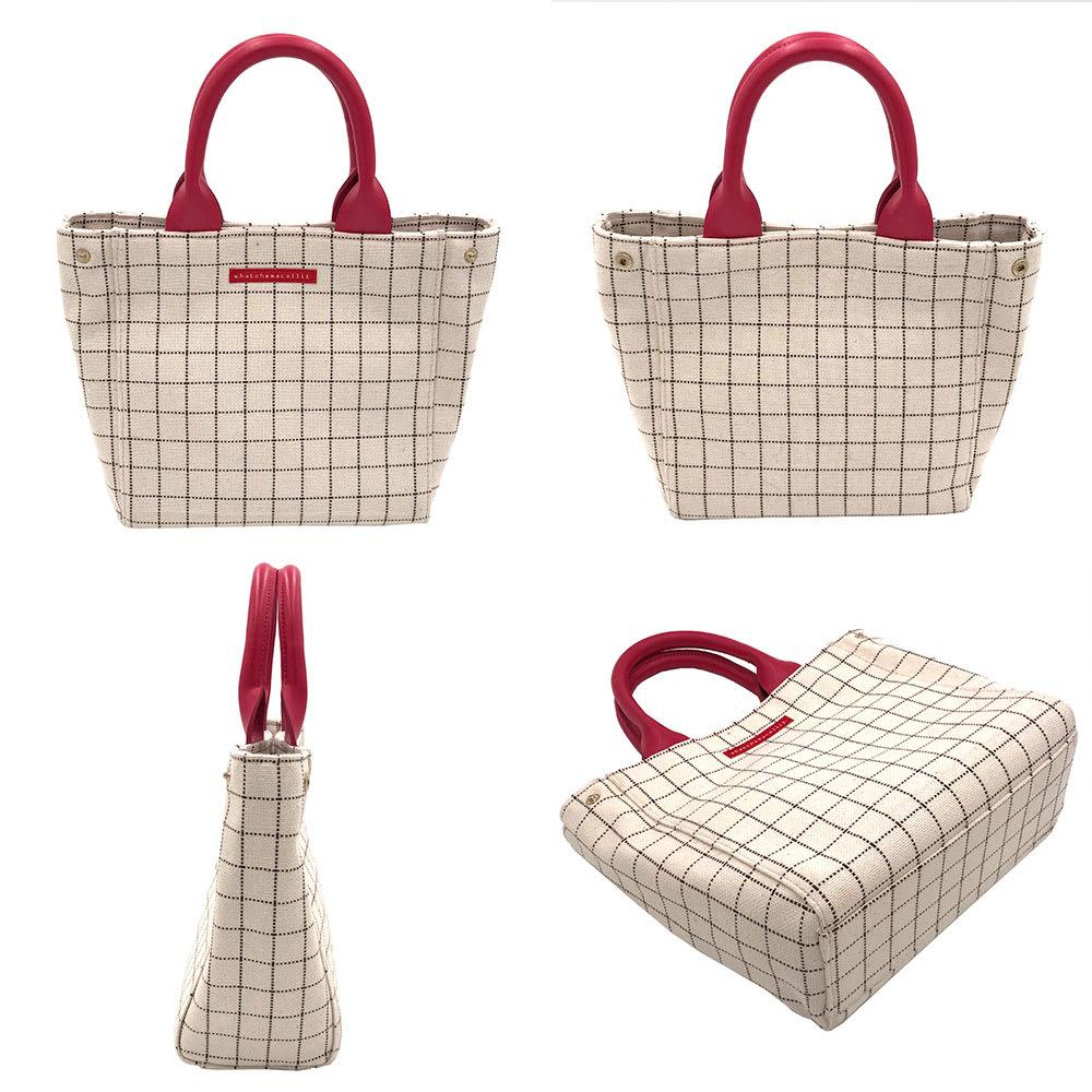 ワチャマコリ グラフチェックトートバッグ Sサイズ (ア)ピンク