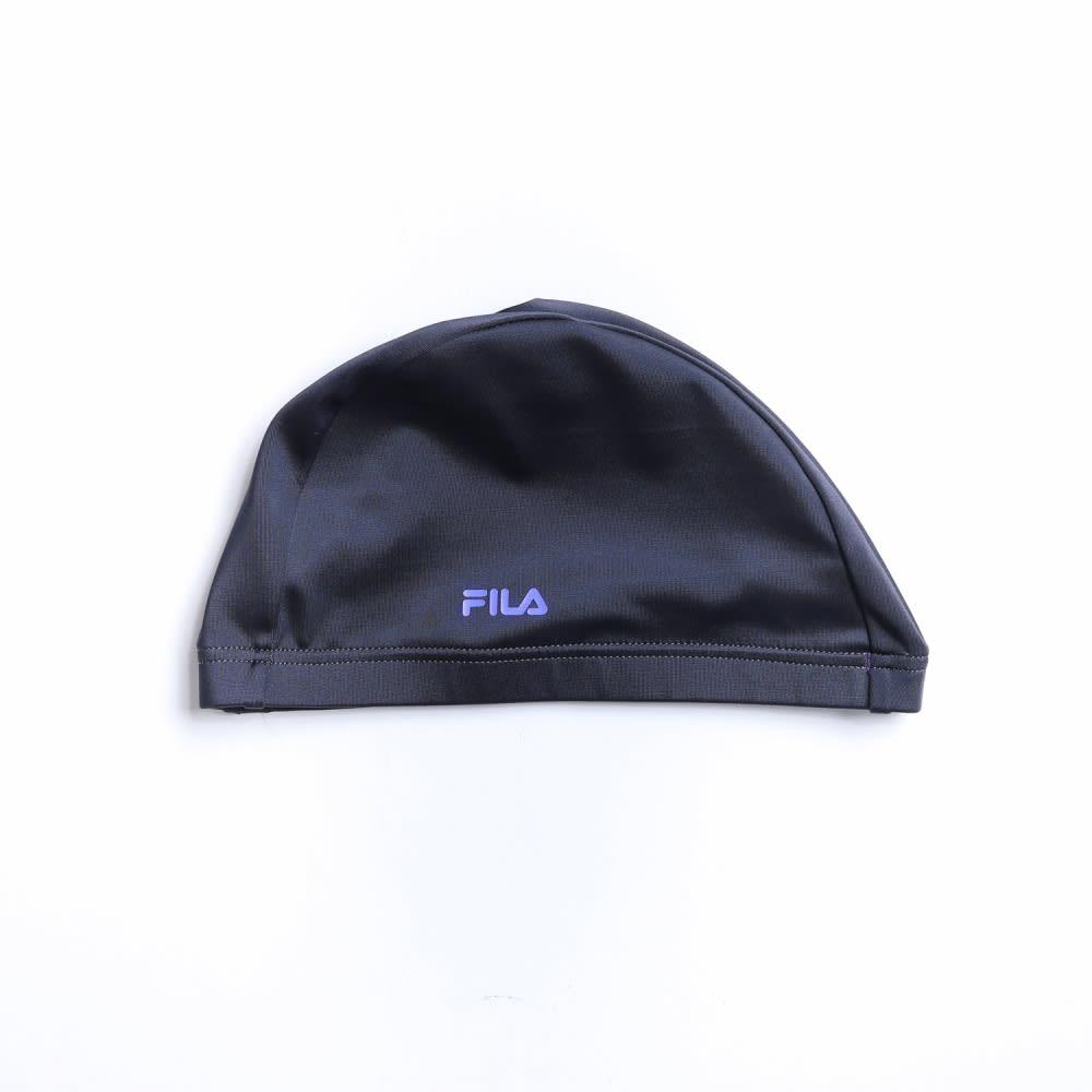 FILAキャップ付ワンピース水着     (ウ)ブラック×パープル