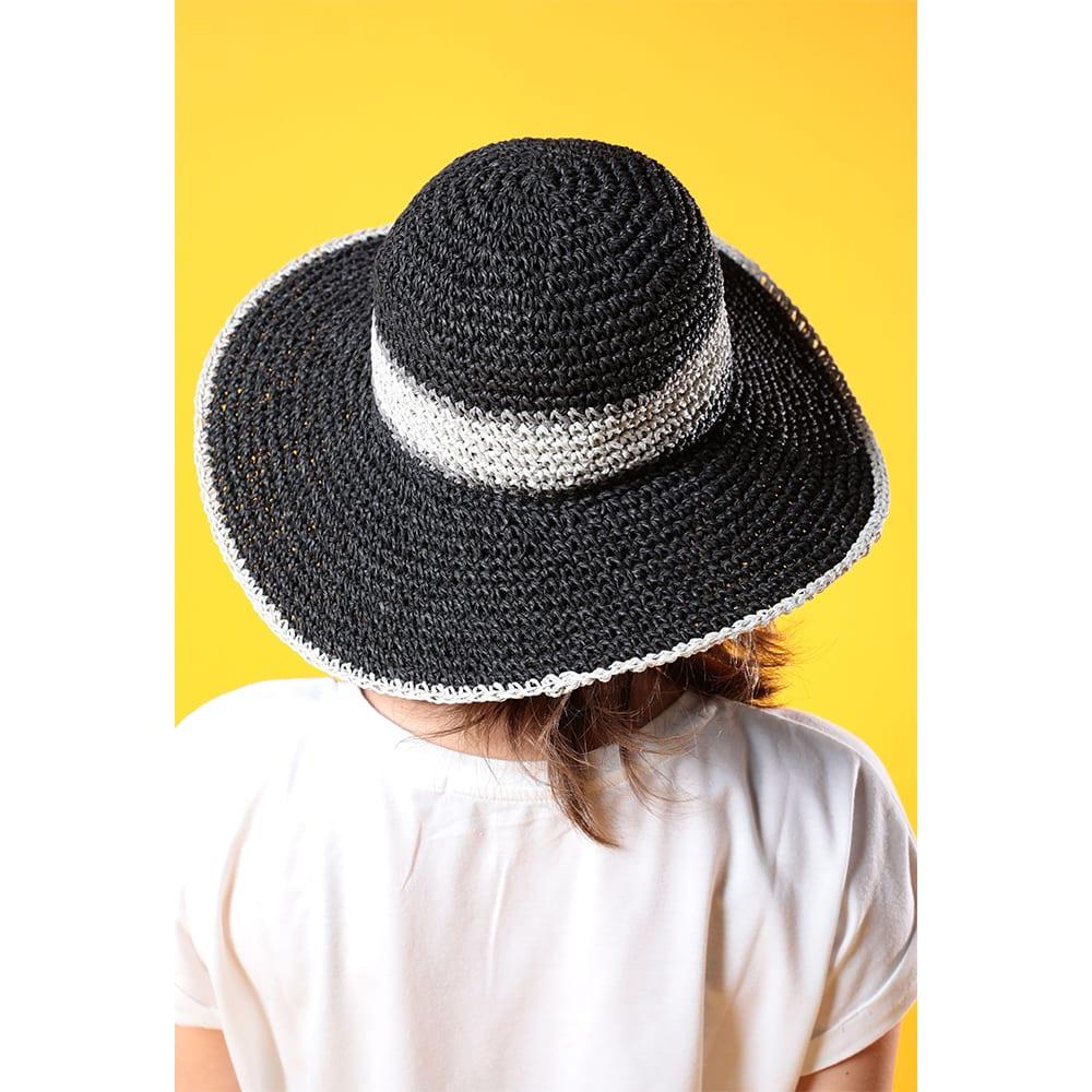 RUSTY(ラスティ)/ペーパー編みのライン素材インサイド調整ゴム付ハット (イ)ブラック