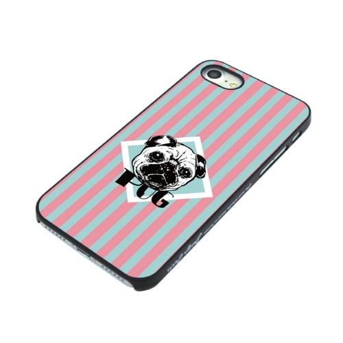 iPhone7 ブラックケース (キ)パグ
