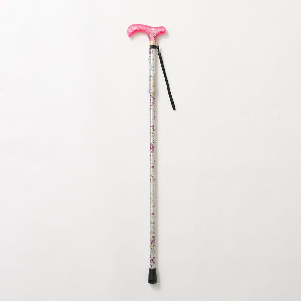 カインドケア/軽快ステッキ伸縮折りたたみ (オ)ピンク