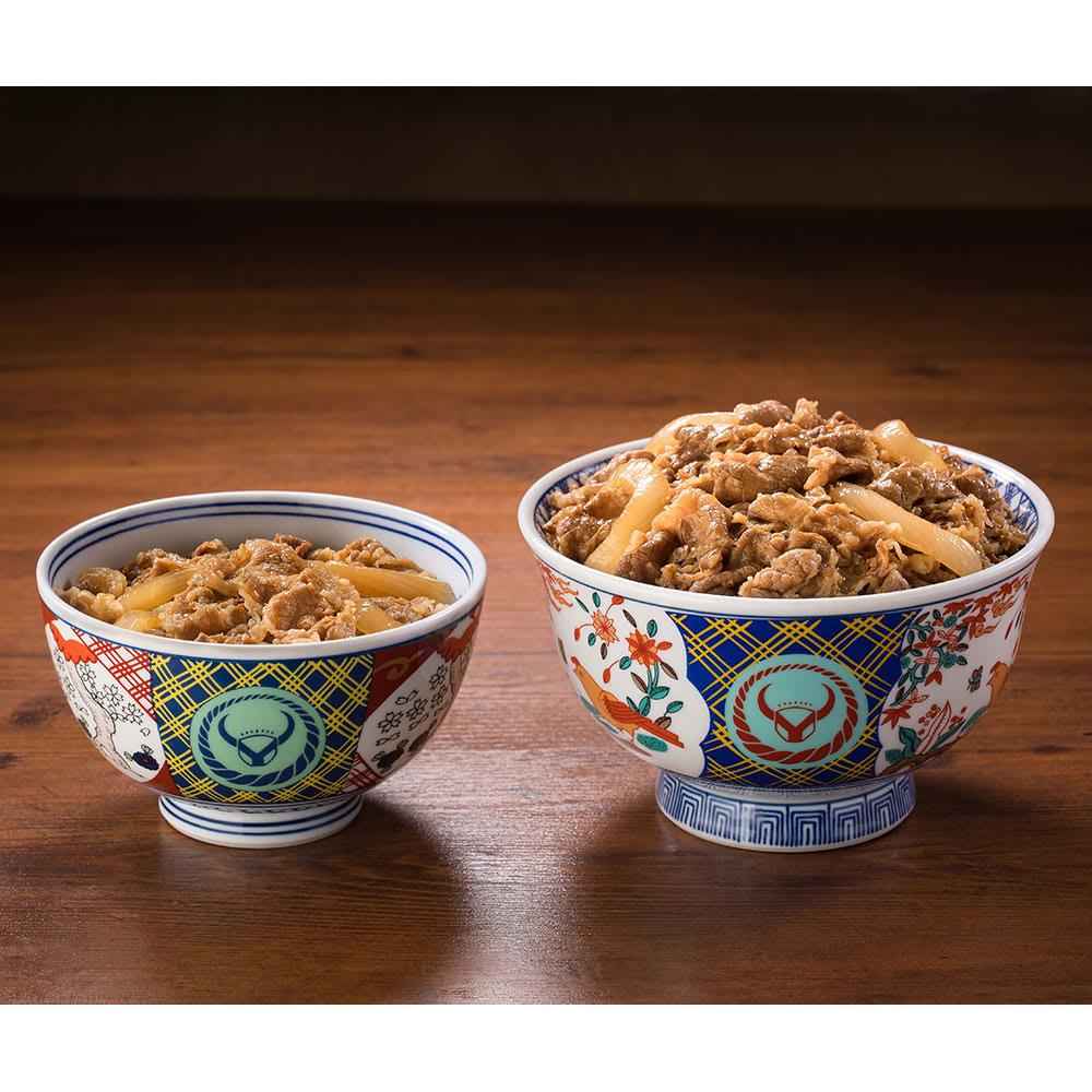 吉野家 超特盛牛丼の具 5食セット サイズ比較 (左)並盛120g (右)超特盛290g