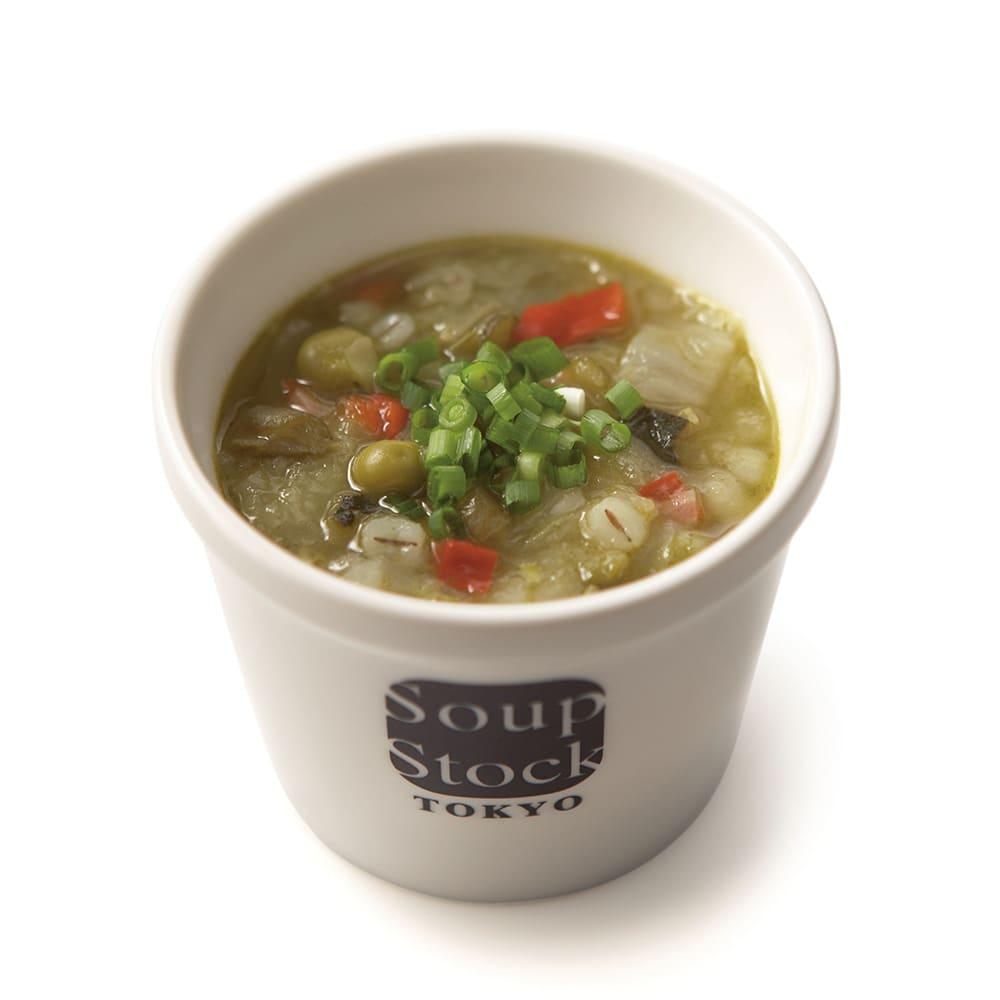 「スープストックトーキョー」和のスープと夏の人気スープセット 【盛り付け例】緑の野菜と岩塩のスープ
