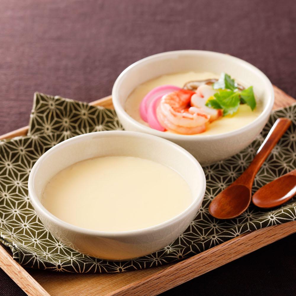 本格茶碗蒸し(ストレート)24パック 【調理例】ディノスで人気の本格とろっと茶わん蒸しのプレーンになります。具材は入っておりません。お好みの具材を入れてお楽しみください。