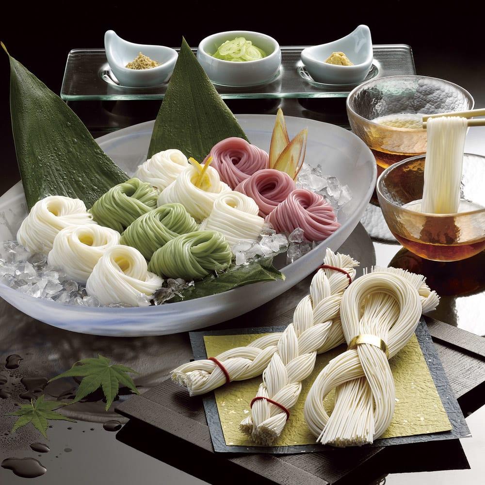【お中元】島原手延素麺(末広・編み入り) (7月中旬お届け) 麺類