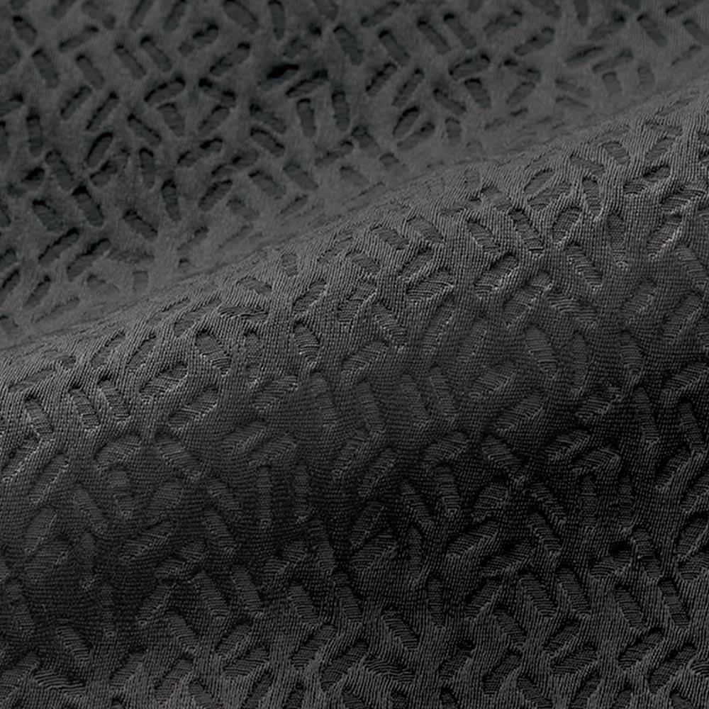 (股下丈68cm)フランス素材 ジャカード 九分丈パンツ (ア)ブラック 生地アップ