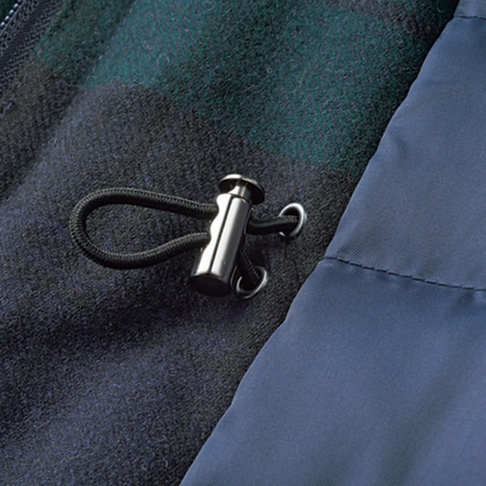 イギリス素材 チェック柄 モッズダウンコート ウエスト・裾はドローストリング仕様