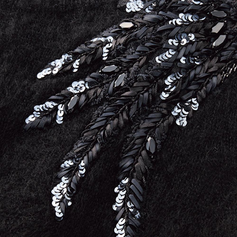 リボン刺繍 モヘヤ混 プルオーバー (イ)ブラック系 生地アップ