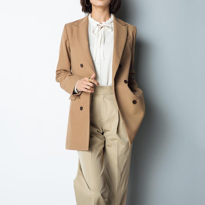 (股下丈68cm) スーピマコットン混 裾ダブルデザイン パンツ (ア)ベージュ コーディネート例
