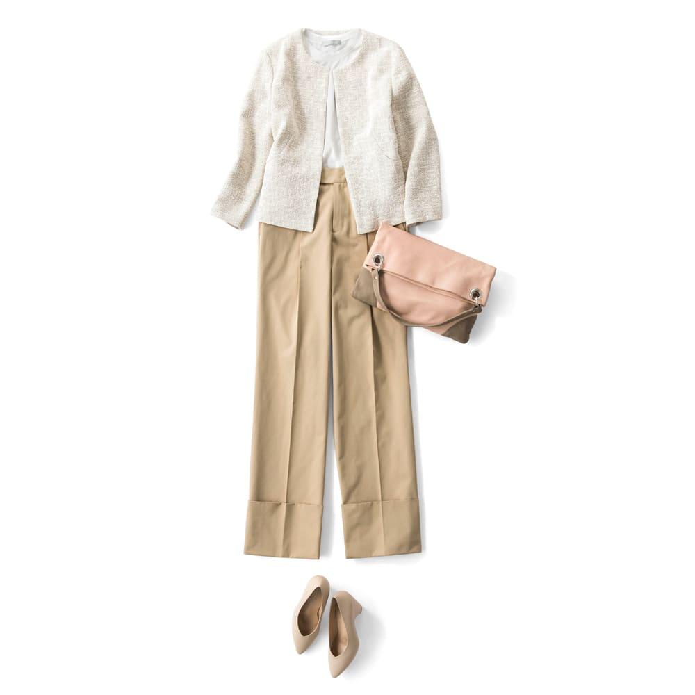 (股下丈68cm) スーピマコットン混 裾ダブルデザイン パンツ コーディネート例
