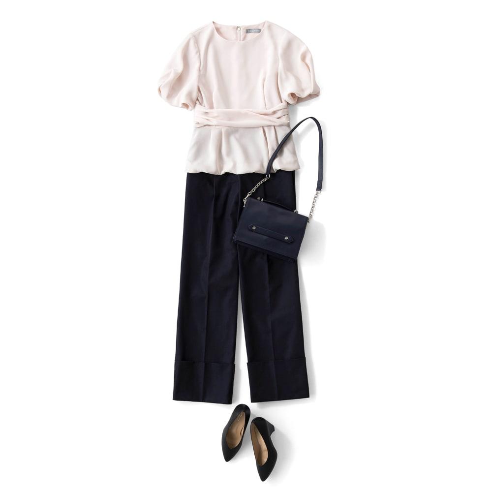 (股下丈74cm) スーピマコットン混 裾ダブルデザイン パンツ コーディネート例