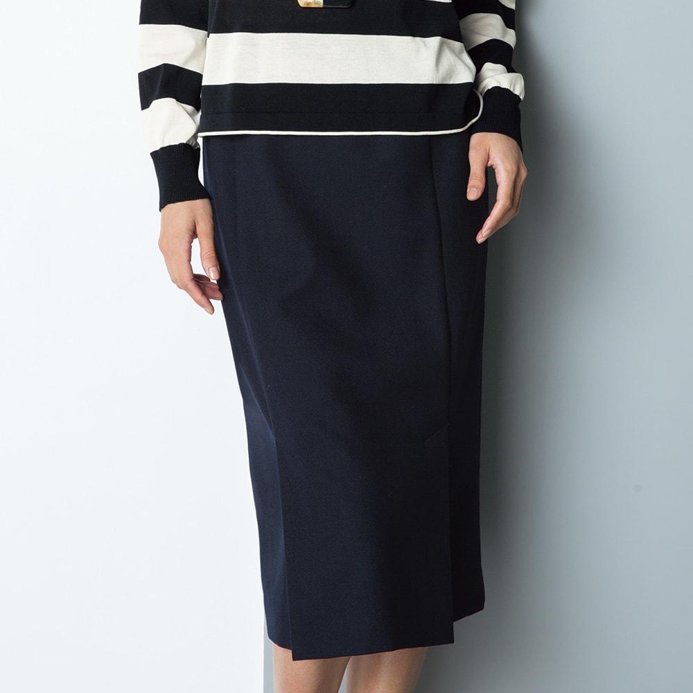 ウール混 ダブルクロス ダブルベント スカート 着用例