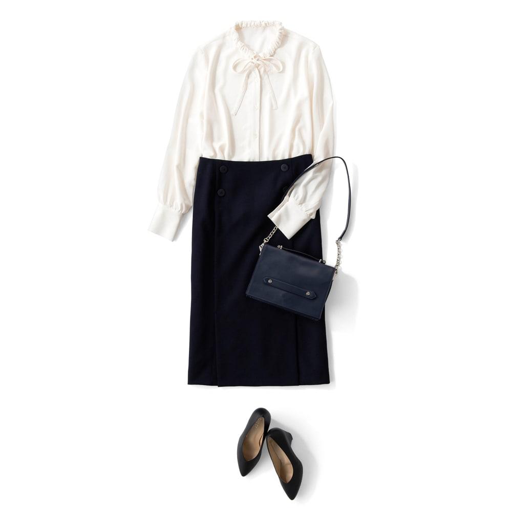 ウール混 ダブルクロス ダブルベント スカート コーディネート例