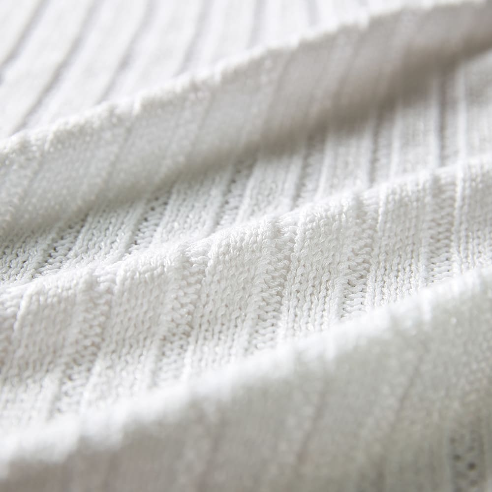 イタリア糸 ワイドリブ ロングカーディガン (ア)ホワイト 生地アップ