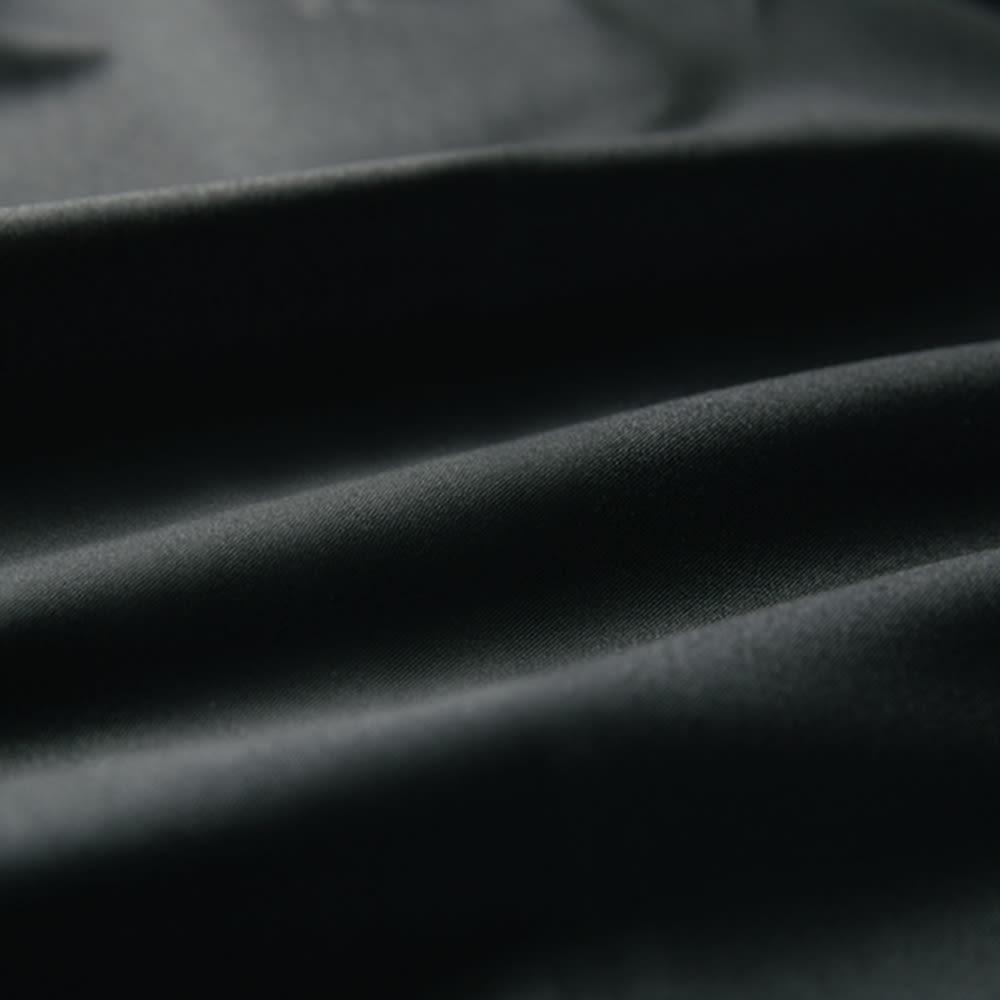 ストレッチ タック テーパードパンツ (ア)ブラック 生地アップ
