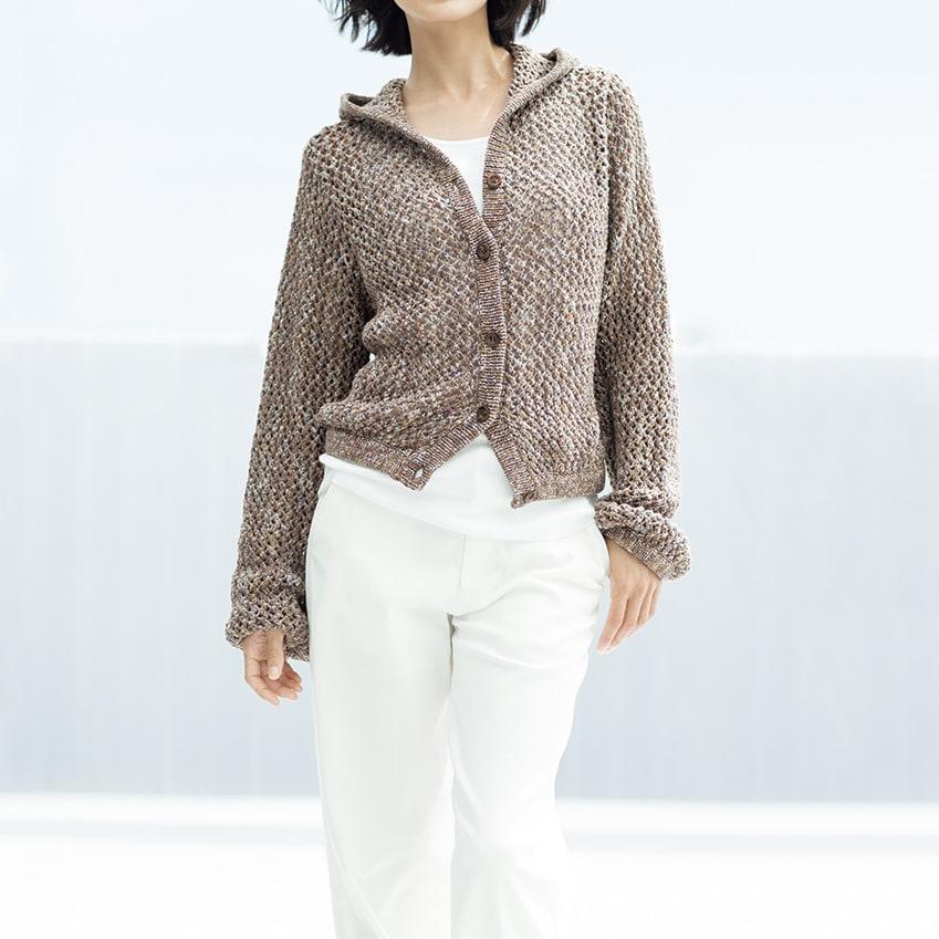 イタリア糸 リリヤーン メッシュ編み フーデッド カーディガン コーディネート例