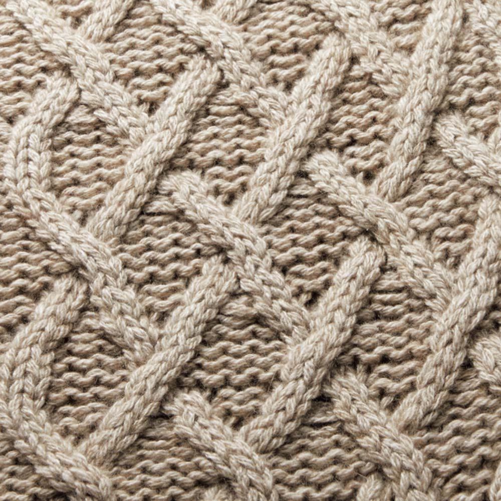 カシミヤシルクセーブル 模様編み ニットコート 生地アップ
