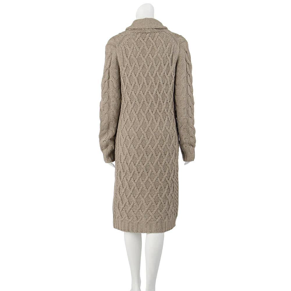 カシミヤシルクセーブル 模様編み ニットコート