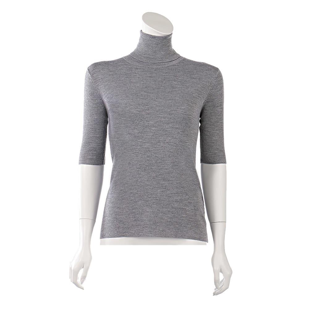 カリアッジ社 総針編み 五分袖 タートルプルオーバー ※今回こちらのお色の販売はございません。参考画像です。