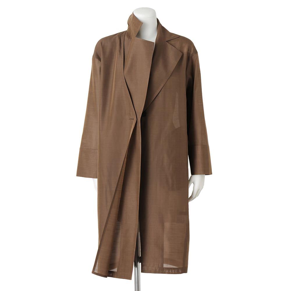 「NIKKE」 マフシルク オーガンジー チェスター風コート 右前身頃のみ2枚重ね仕様(ボタンホールで縫い付けられています)