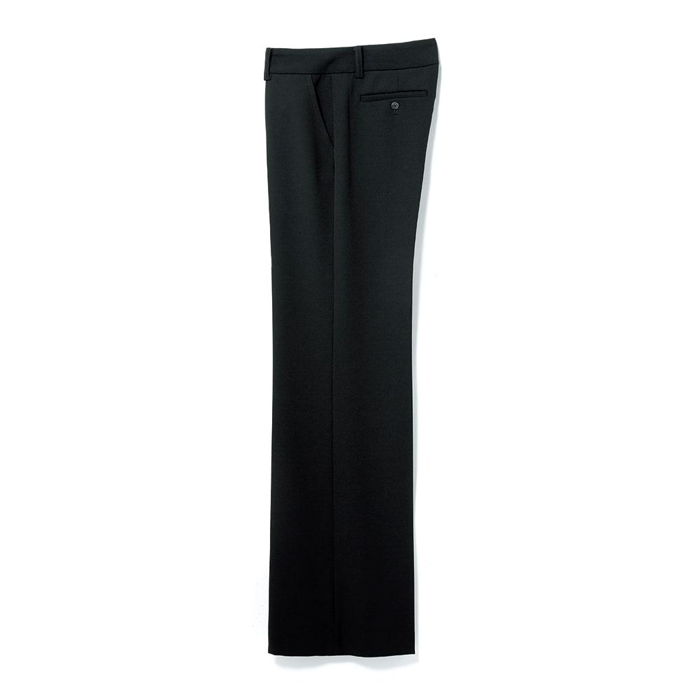 (股下丈68cm) カルゼ ストレッチ セミワイドパンツ (イ)ブラック SIDE