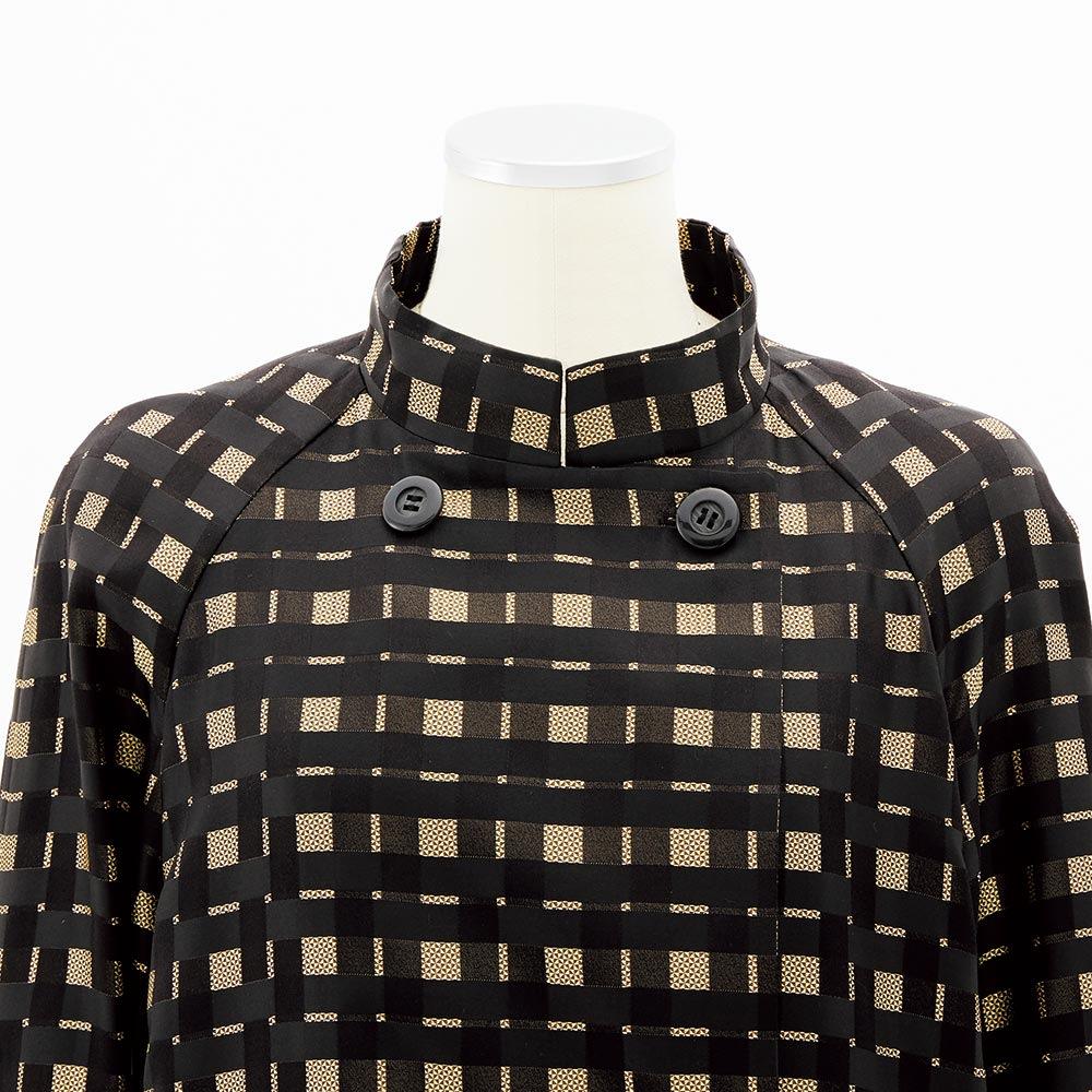 イギリス製シルクジャカード生地使用 チェック トレンチ風コート 襟部分