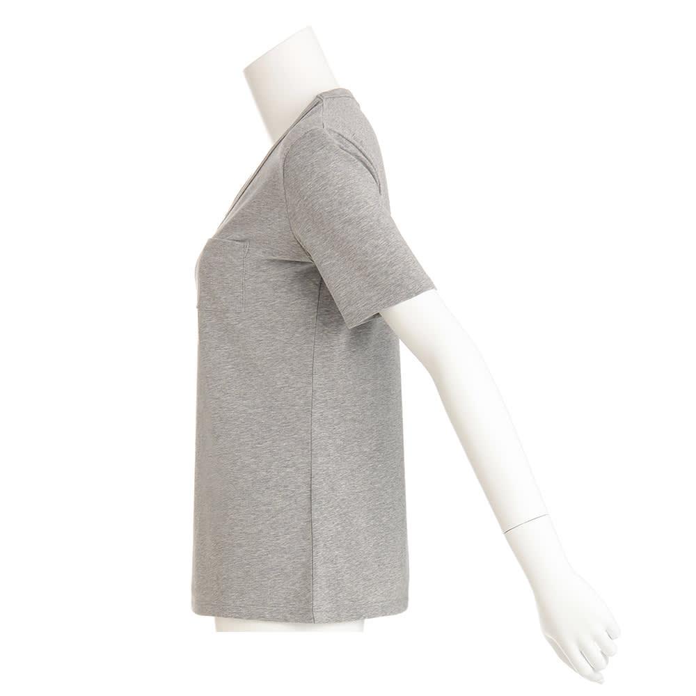 洗えるコットンベア天 Vネック 半袖Tシャツ