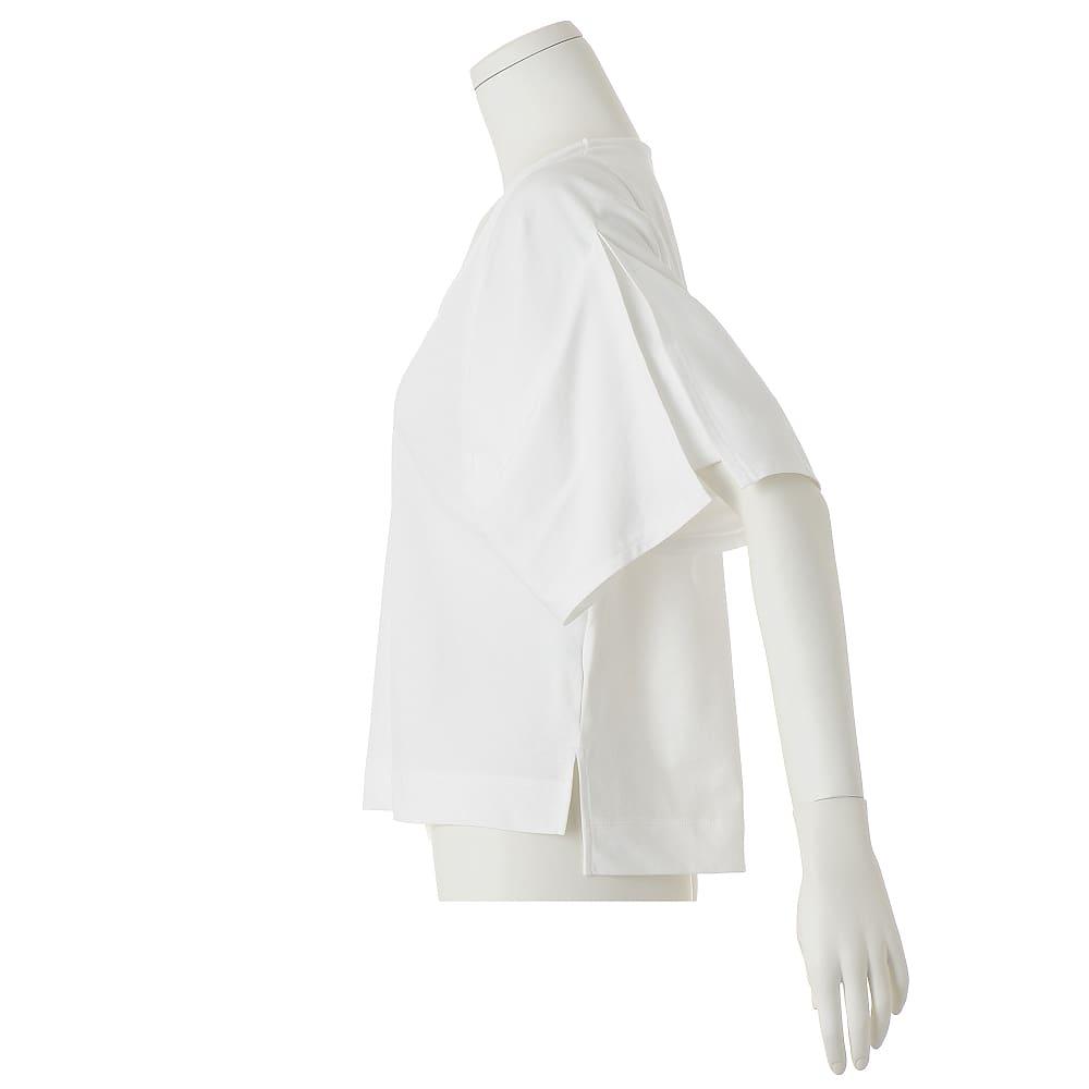強撚コットンジャージー 変形スリーブ プルオーバー 袖はスクエアの形を折り上げた変形袖