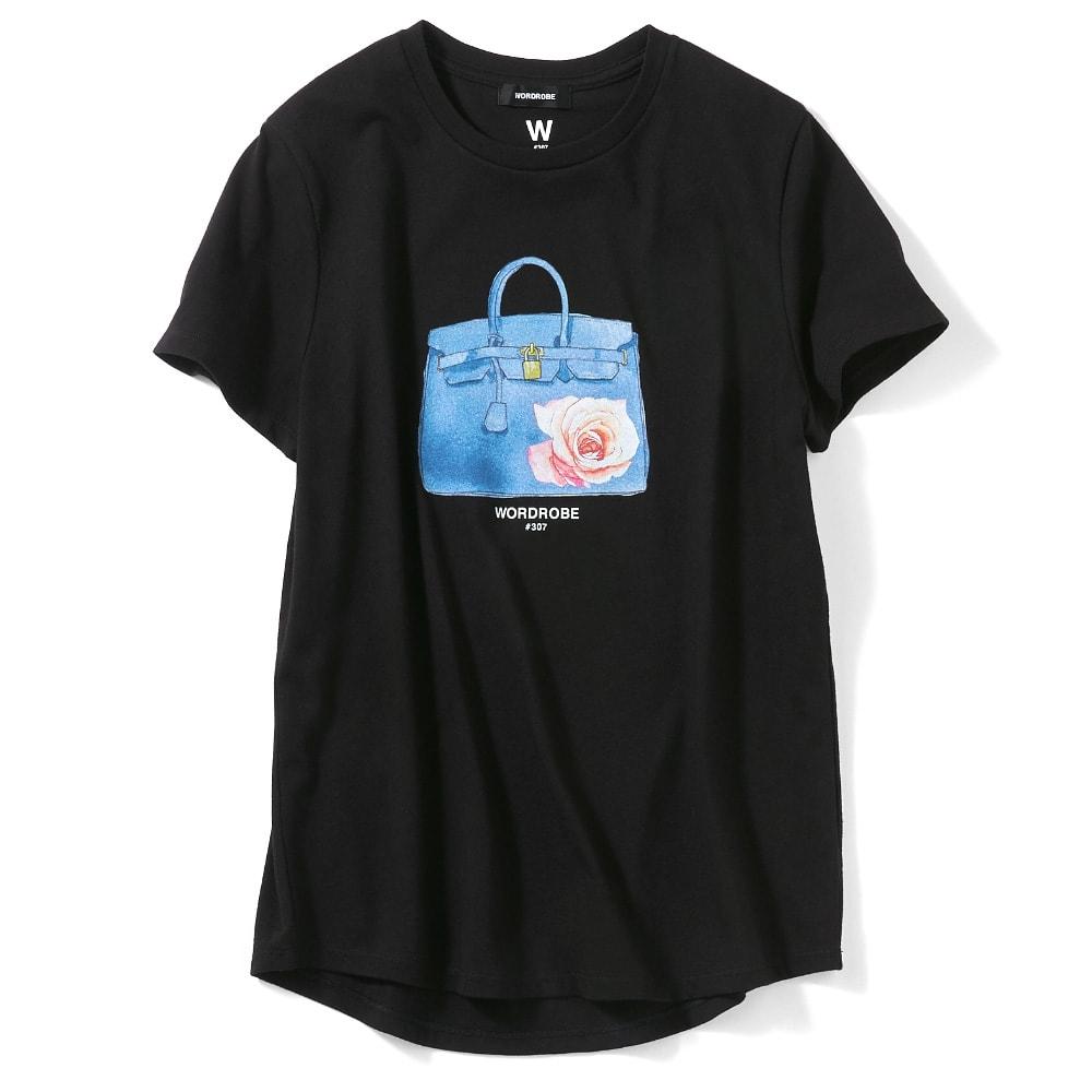 WORDROBE/ワードローブ プリントTシャツ ブラック(バッグ) コーディネート例
