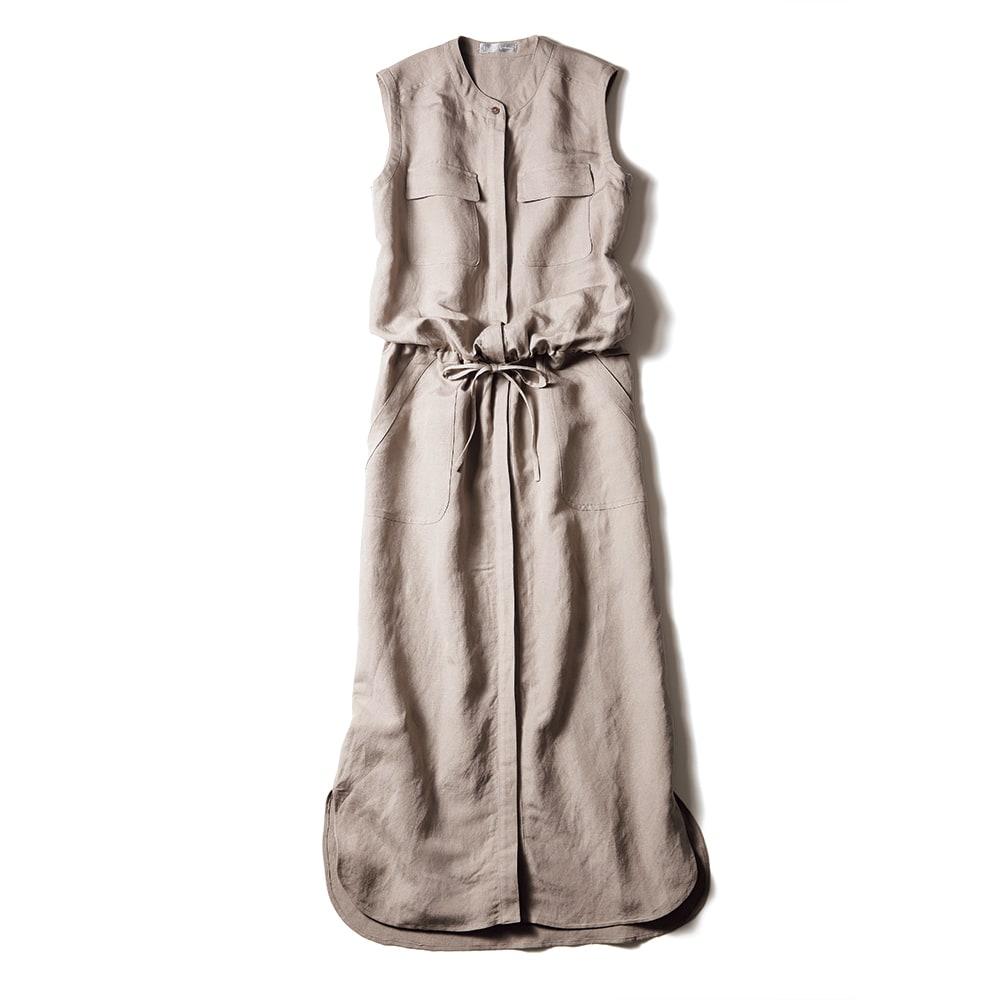 リネン混 ポケット使い シャツワンピース(サイズ15)